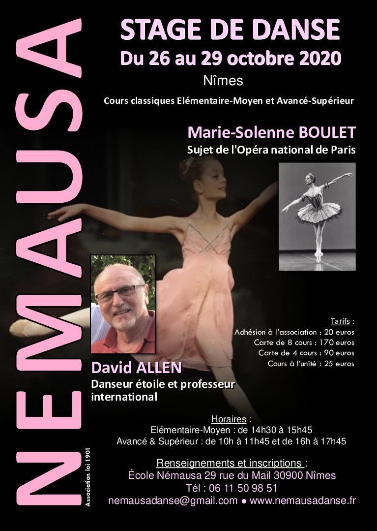 Stage de danse avec David Allen et Marie Solenne Boulet du 26 au 29 octobre 2020